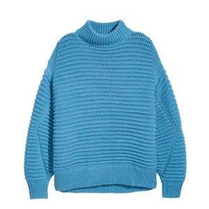 Sweaters - LIGHT BLUE CHUNKY-KNIT SWEATER WOOL BLEND SIZE XS